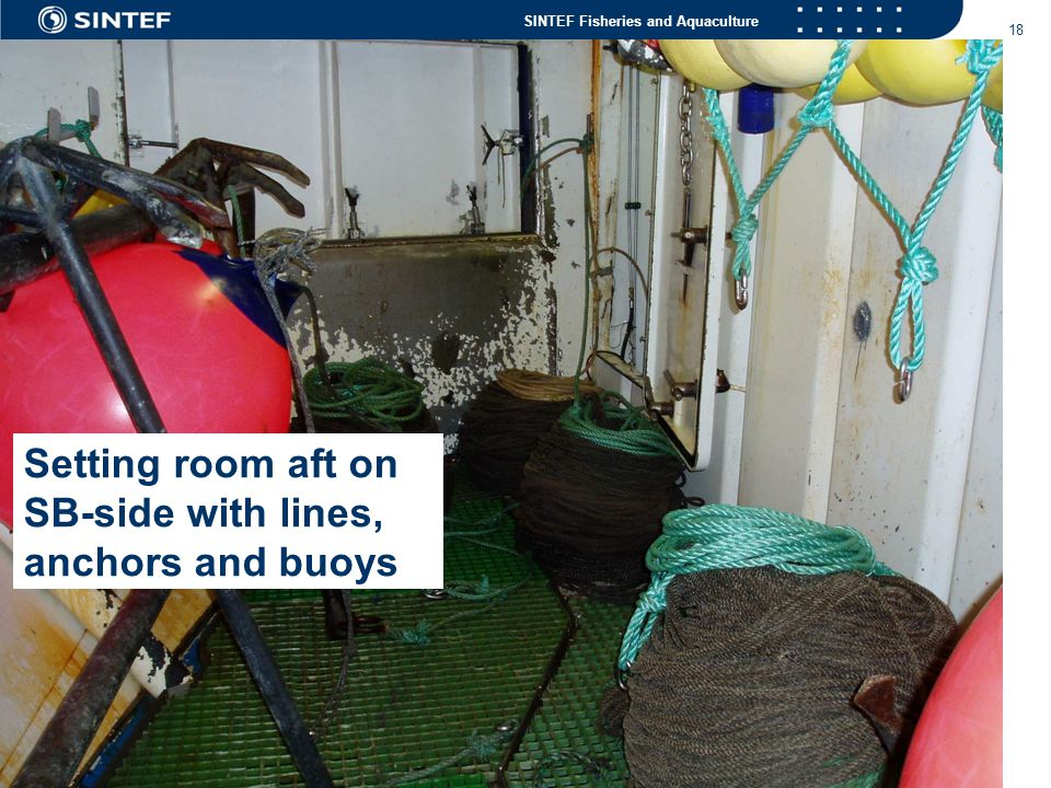 SINTEF Fisheries and Aquaculture 18 Setting room aft on SB-side with lines, anchors and buoys