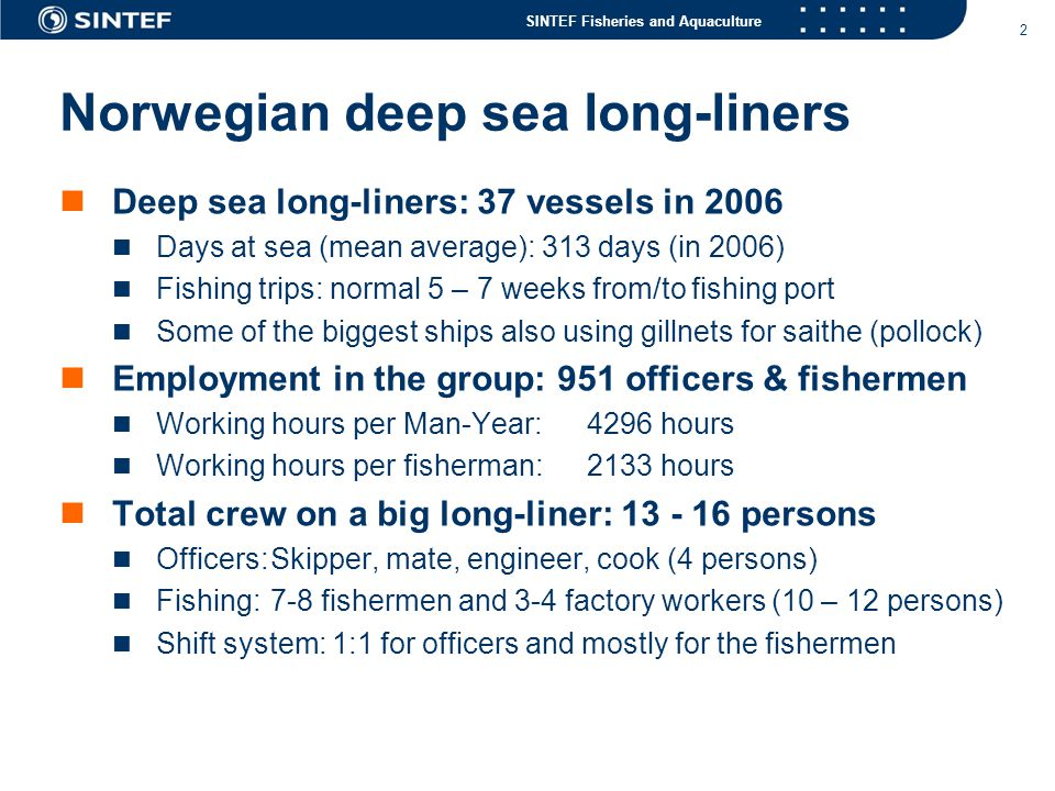 SINTEF Fisheries and Aquaculture 3 Skipper on watch for 14 – 16 hours per day (MS Leinebris at North Cape Bank – Nov.