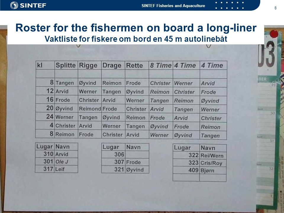 SINTEF Fisheries and Aquaculture 29 Future technologies for longline fishing.