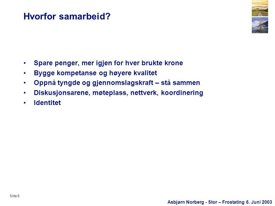 Asbjørn Norberg - Stor – Frostating 6. Juni 2003 Side 8 Hvorfor samarbeid.