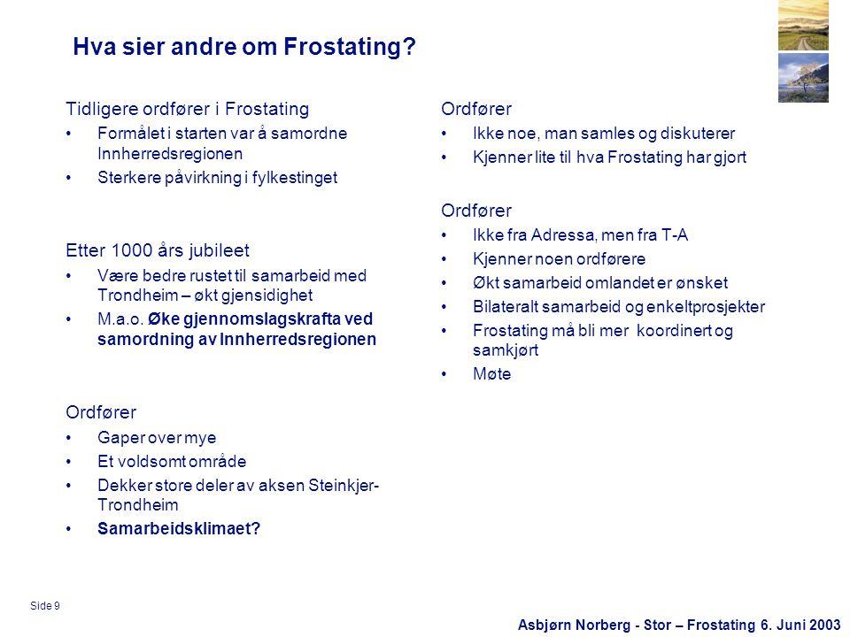 Asbjørn Norberg - Stor – Frostating 6. Juni 2003 Side 9 Hva sier andre om Frostating.