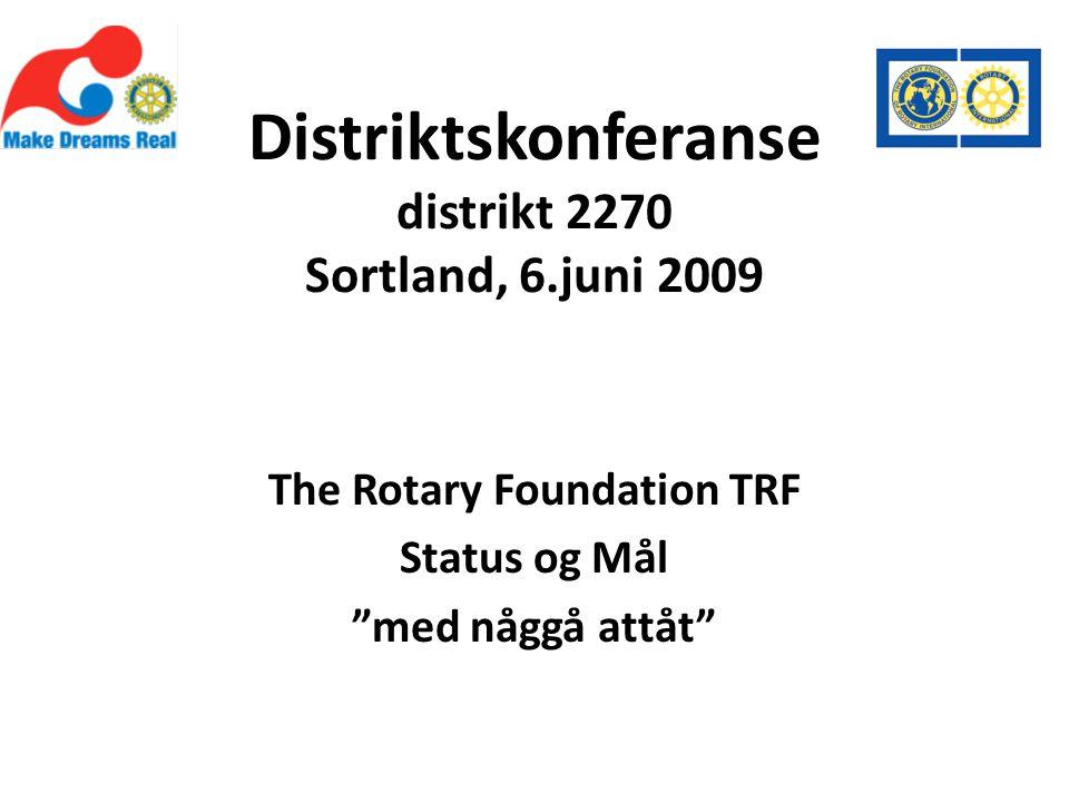 Distriktskonferanse distrikt 2270 Sortland, 6.juni 2009 The Rotary Foundation TRF Status og Mål med någgå attåt