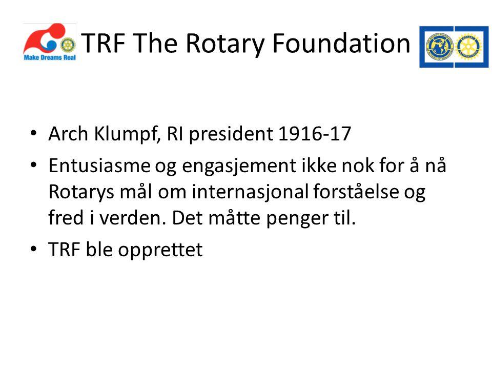 TRF The Rotary Foundation • Arch Klumpf, RI president 1916-17 • Entusiasme og engasjement ikke nok for å nå Rotarys mål om internasjonal forståelse og fred i verden.