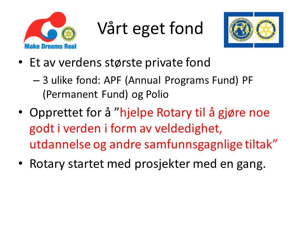 Vårt eget fond • Et av verdens største private fond – 3 ulike fond: APF (Annual Programs Fund) PF (Permanent Fund) og Polio • Opprettet for å hjelpe Rotary til å gjøre noe godt i verden i form av veldedighet, utdannelse og andre samfunnsgagnlige tiltak • Rotary startet med prosjekter med en gang.