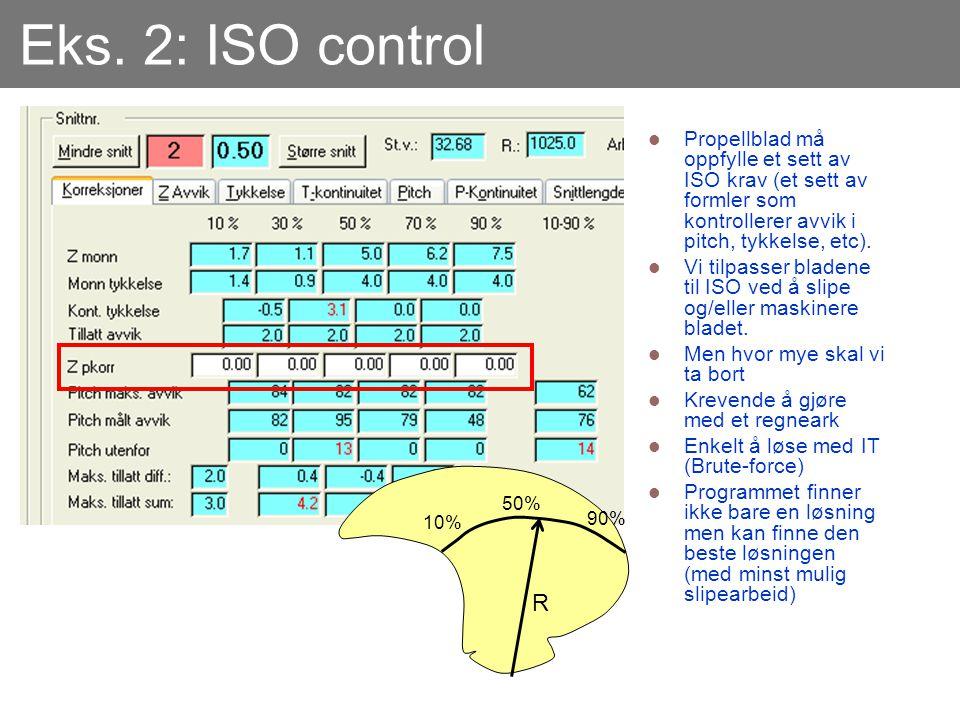 Eks. 2: ISO control  Propellblad må oppfylle et sett av ISO krav (et sett av formler som kontrollerer avvik i pitch, tykkelse, etc).  Vi tilpasser b