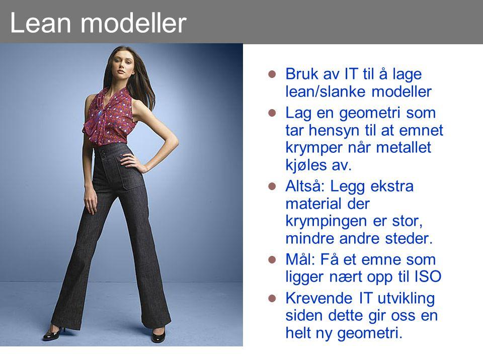 Lean modeller  Bruk av IT til å lage lean/slanke modeller  Lag en geometri som tar hensyn til at emnet krymper når metallet kjøles av.  Altså: Legg