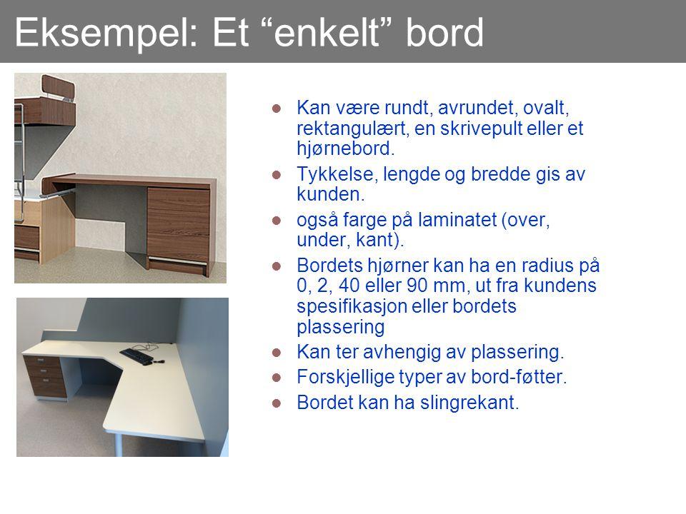 """Eksempel: Et """"enkelt"""" bord  Kan være rundt, avrundet, ovalt, rektangulært, en skrivepult eller et hjørnebord.  Tykkelse, lengde og bredde gis av kun"""
