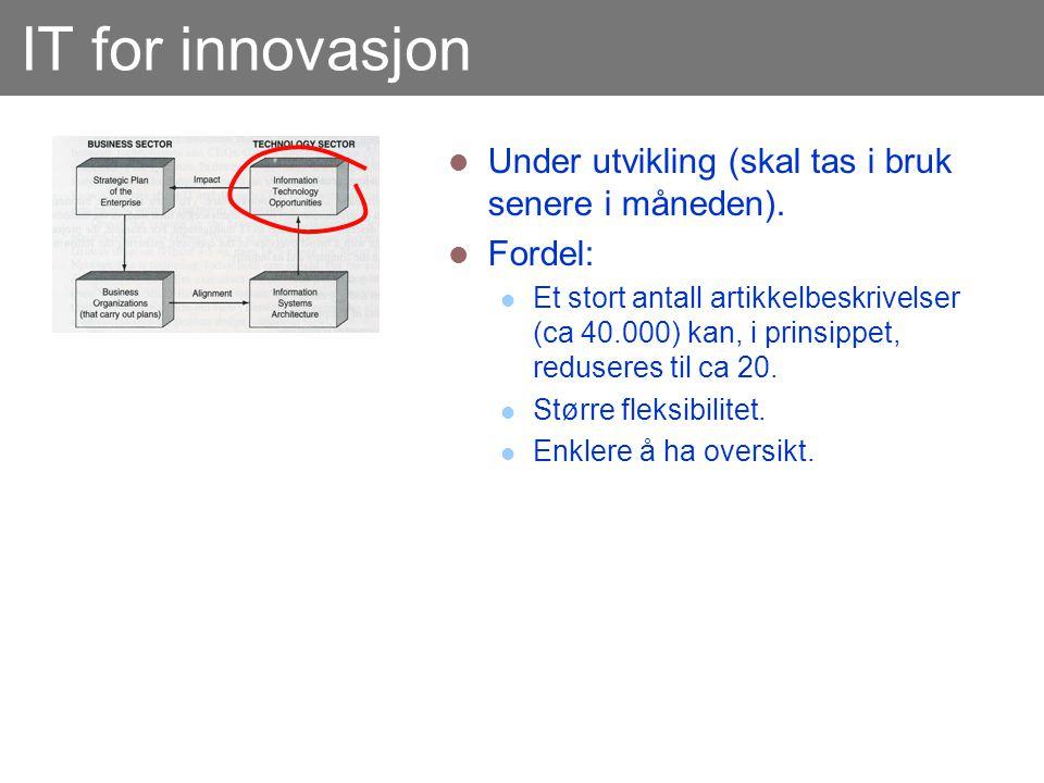 IT for innovasjon  Under utvikling (skal tas i bruk senere i måneden).  Fordel:  Et stort antall artikkelbeskrivelser (ca 40.000) kan, i prinsippet