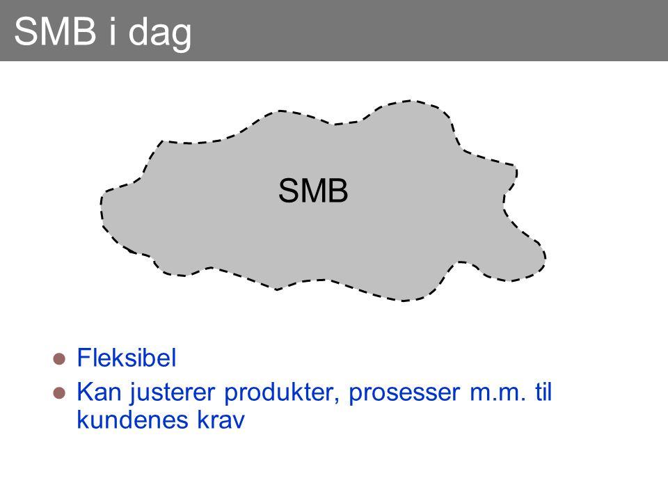 SMB i dag  Fleksibel  Kan justerer produkter, prosesser m.m. til kundenes krav SMB