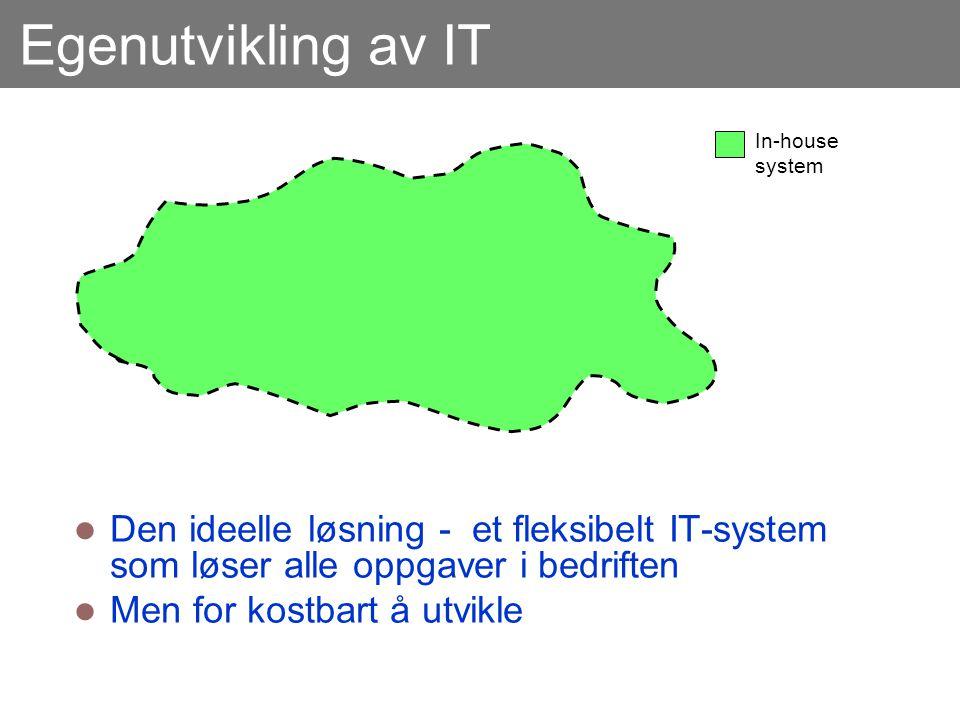 Egenutvikling av IT  Den ideelle løsning - et fleksibelt IT-system som løser alle oppgaver i bedriften  Men for kostbart å utvikle In-house system