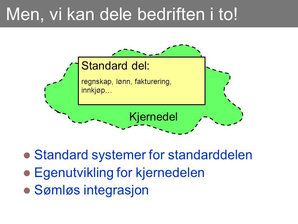 Men, vi kan dele bedriften i to!  Standard systemer for standarddelen  Egenutvikling for kjernedelen  Sømløs integrasjon Standard del: regnskap, lø
