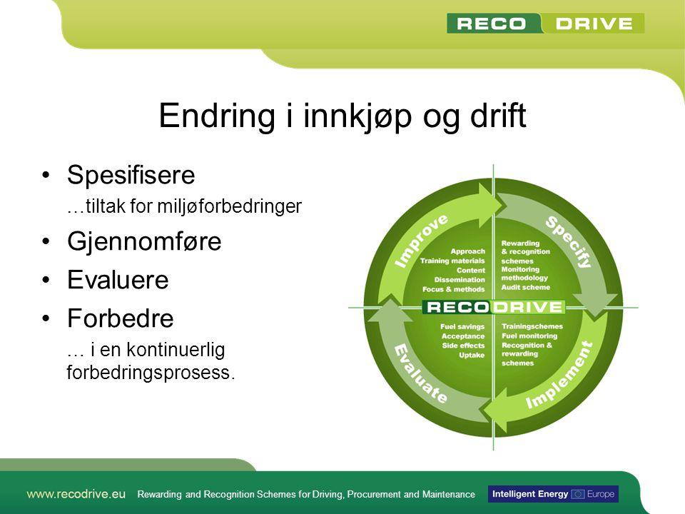 Rewarding and Recognition Schemes for Driving, Procurement and Maintenance Endring i innkjøp og drift •Spesifisere …tiltak for miljøforbedringer •Gjen
