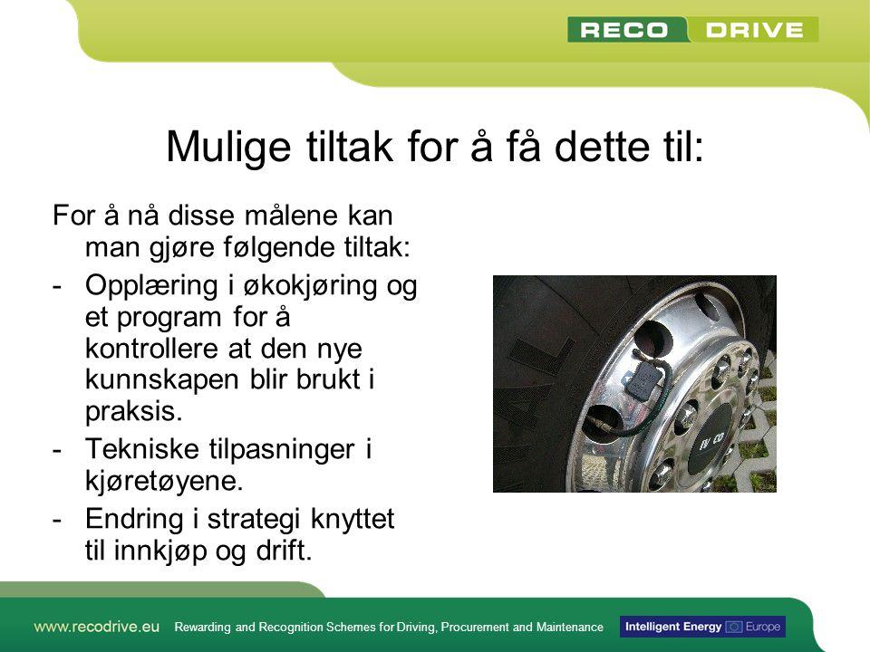 Rewarding and Recognition Schemes for Driving, Procurement and Maintenance Tekniske muligheter i kjøretøyene •Spesifiser...