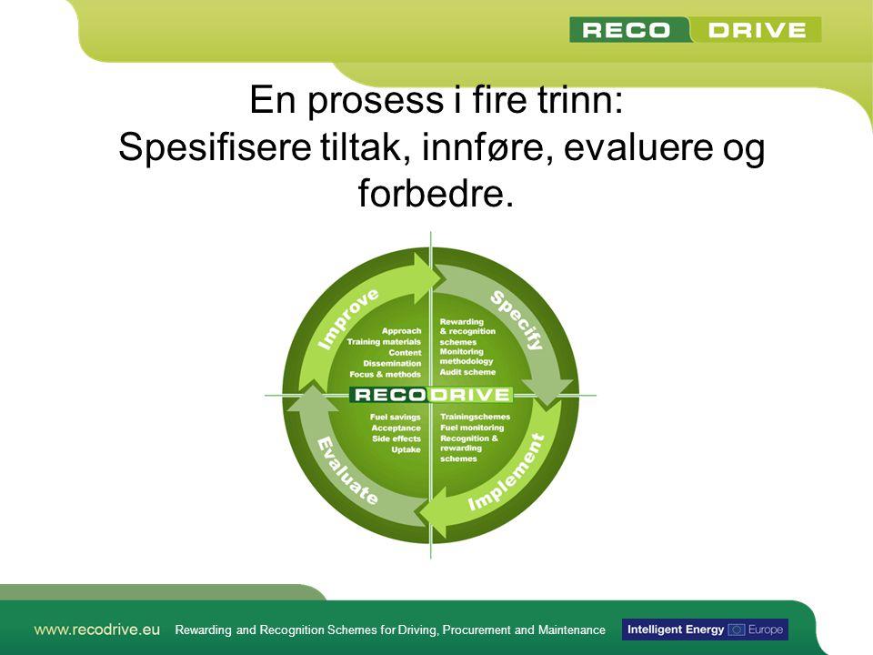 Rewarding and Recognition Schemes for Driving, Procurement and Maintenance En prosess i fire trinn: Spesifisere tiltak, innføre, evaluere og forbedre.