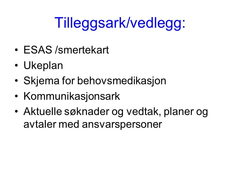 Tilleggsark/vedlegg: •ESAS /smertekart •Ukeplan •Skjema for behovsmedikasjon •Kommunikasjonsark •Aktuelle søknader og vedtak, planer og avtaler med an