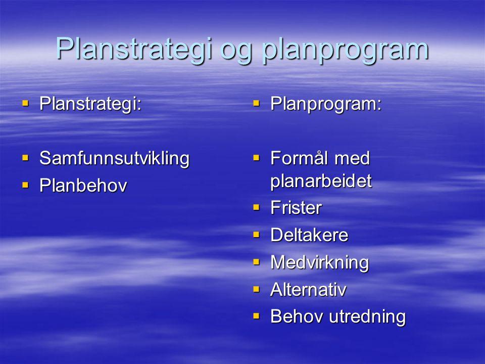Planstrategi og planprogram  Planstrategi:  Samfunnsutvikling  Planbehov  Planprogram:  Formål med planarbeidet  Frister  Deltakere  Medvirkni
