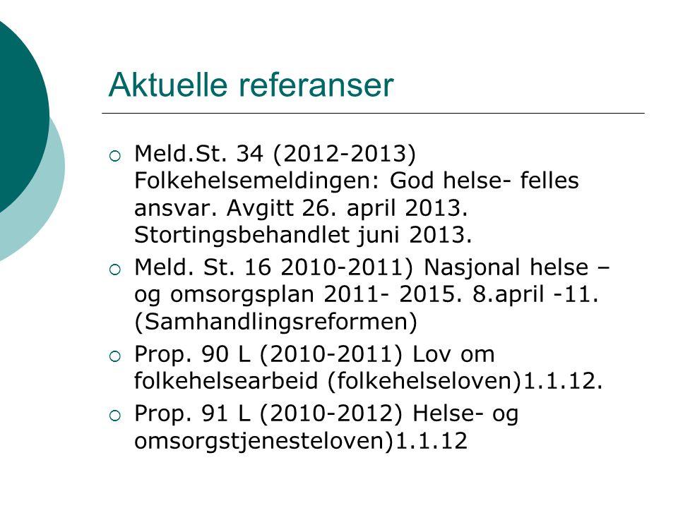 Aktuelle referanser  Meld.St. 34 (2012-2013) Folkehelsemeldingen: God helse- felles ansvar. Avgitt 26. april 2013. Stortingsbehandlet juni 2013.  Me