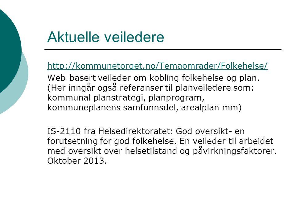 Aktuelle veiledere http://kommunetorget.no/Temaomrader/Folkehelse/ Web-basert veileder om kobling folkehelse og plan. (Her inngår også referanser til