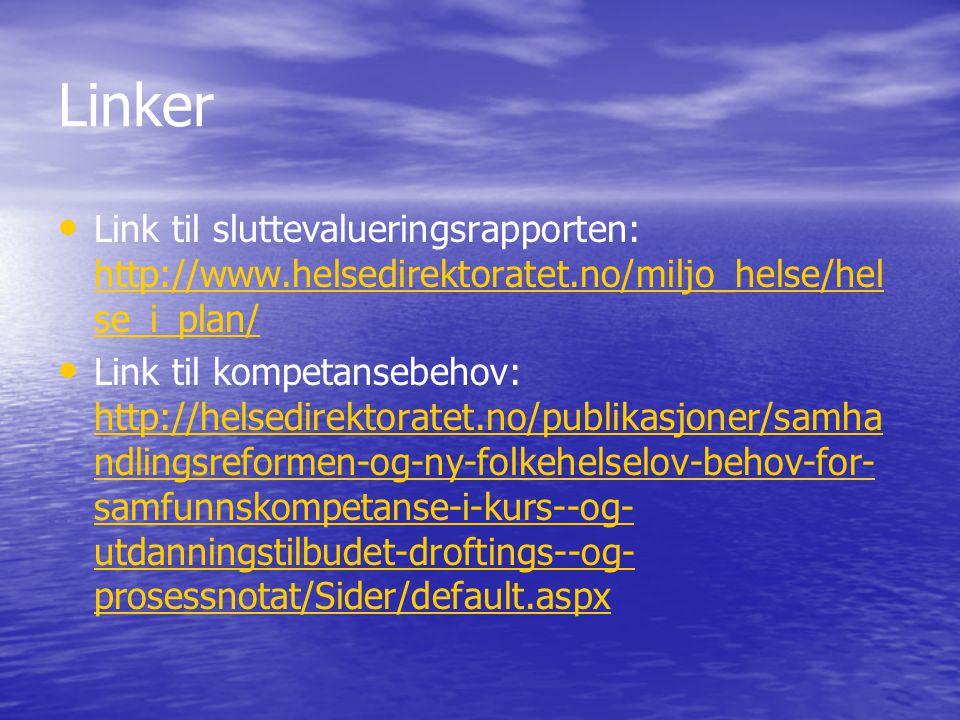 Linker • • Link til sluttevalueringsrapporten: http://www.helsedirektoratet.no/miljo_helse/hel se_i_plan/ http://www.helsedirektoratet.no/miljo_helse/