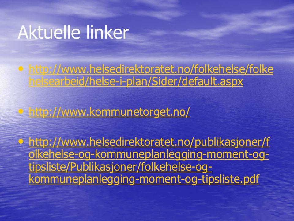 Aktuelle linker • • http://www.helsedirektoratet.no/folkehelse/folke helsearbeid/helse-i-plan/Sider/default.aspx http://www.helsedirektoratet.no/folke