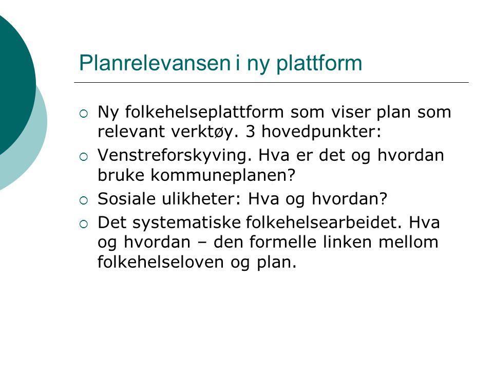 Planrelevansen i ny plattform  Ny folkehelseplattform som viser plan som relevant verktøy. 3 hovedpunkter:  Venstreforskyving. Hva er det og hvordan