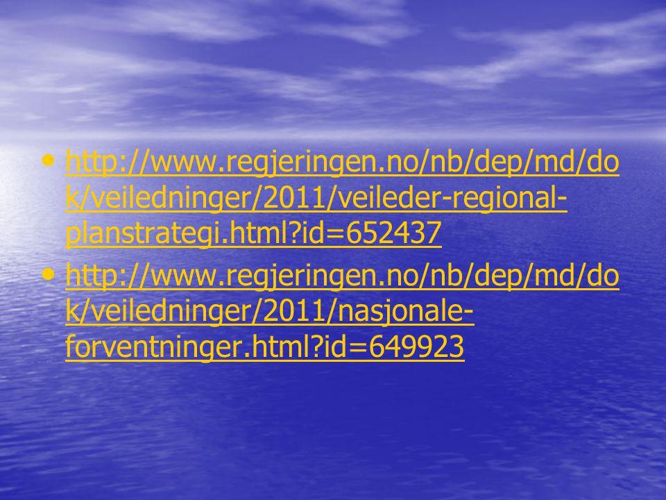 • • http://www.regjeringen.no/nb/dep/md/do k/veiledninger/2011/veileder-regional- planstrategi.html?id=652437 http://www.regjeringen.no/nb/dep/md/do k
