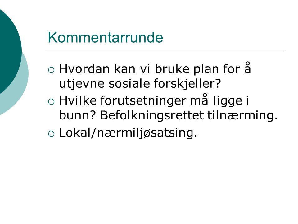 Aktuelle veiledere http://kommunetorget.no/Temaomrader/Folkehelse/ Web-basert veileder om kobling folkehelse og plan.