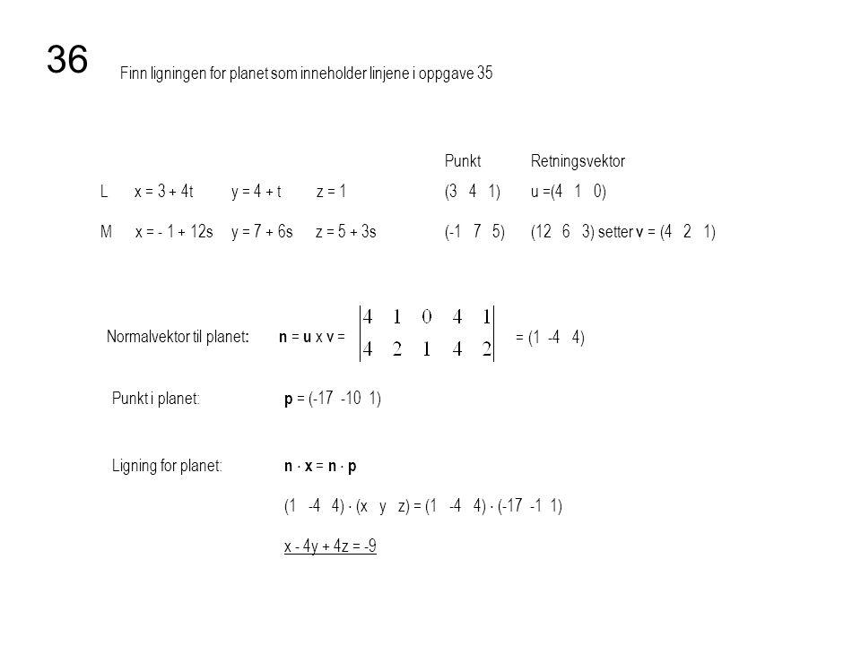 Finn ligningen for planet som inneholder linjene i oppgave 35 36 PunktRetningsvektor L x = 3 + 4t y = 4 + t z = 1 (3 4 1)u =(4 1 0) M x = - 1 + 12s y
