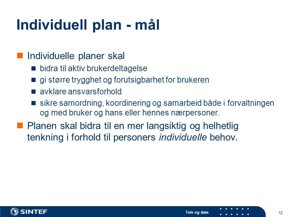 Tele og data 12 Individuell plan - mål  Individuelle planer skal  bidra til aktiv brukerdeltagelse  gi større trygghet og forutsigbarhet for bruker