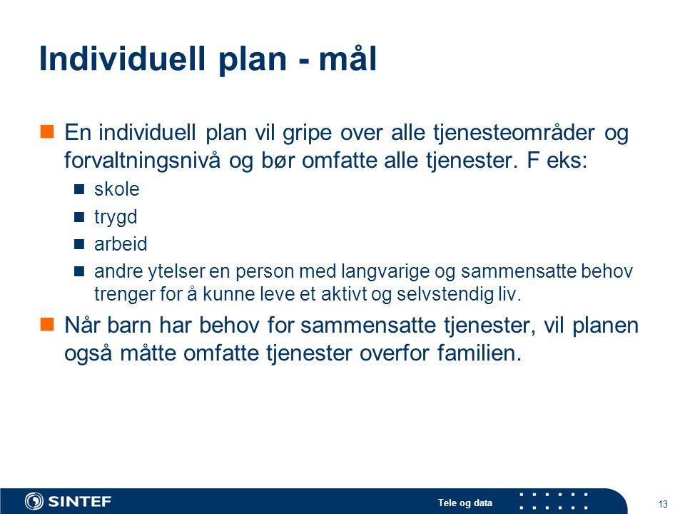 Tele og data 13 Individuell plan - mål  En individuell plan vil gripe over alle tjenesteområder og forvaltningsnivå og bør omfatte alle tjenester. F