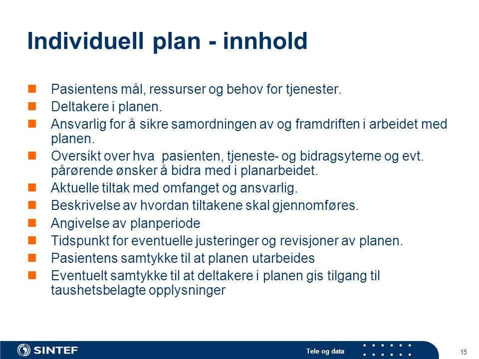 Tele og data 15 Individuell plan - innhold  Pasientens mål, ressurser og behov for tjenester.  Deltakere i planen.  Ansvarlig for å sikre samordnin