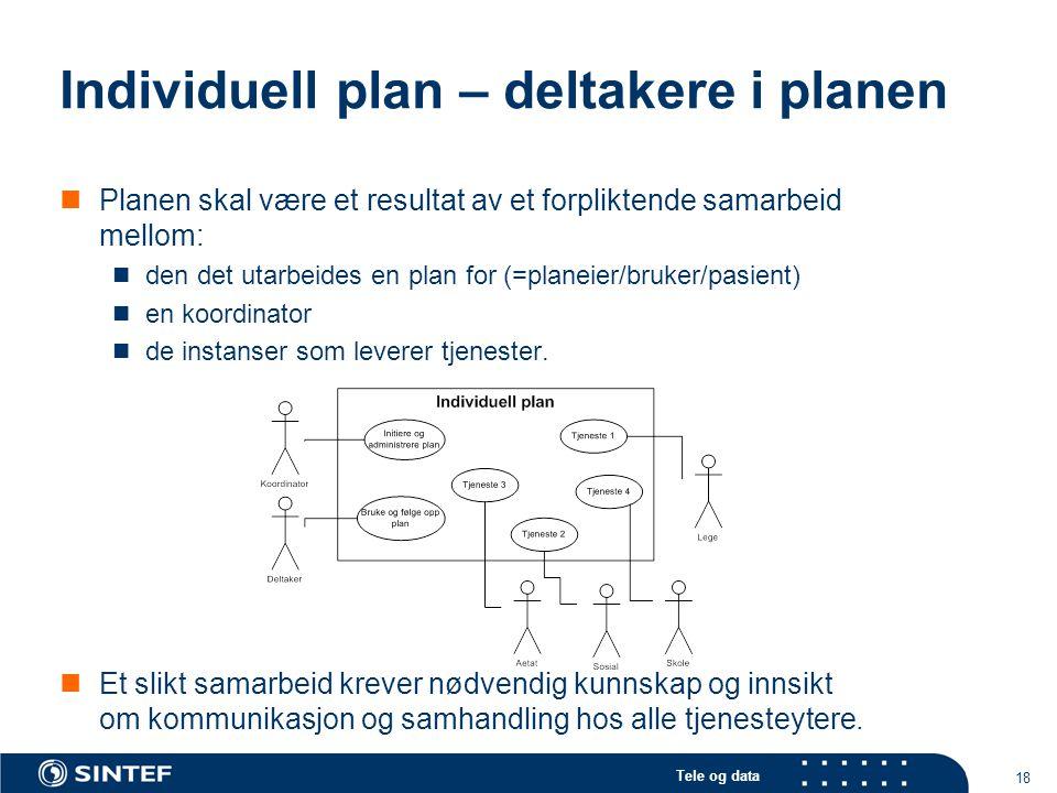 Tele og data 18 Individuell plan – deltakere i planen  Planen skal være et resultat av et forpliktende samarbeid mellom:  den det utarbeides en plan