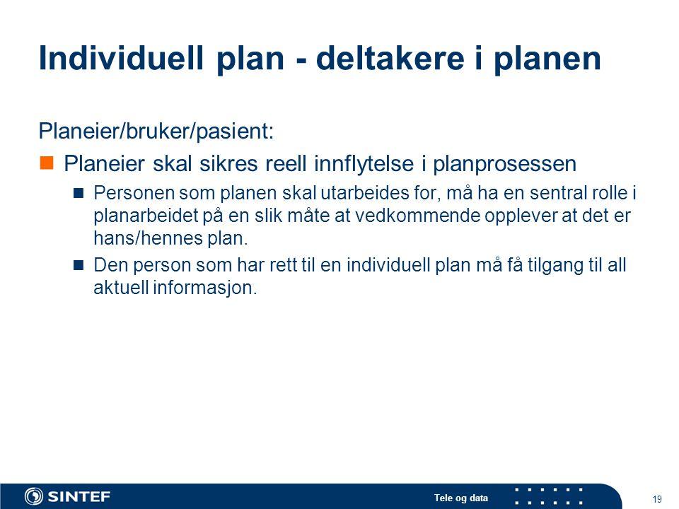 Tele og data 19 Individuell plan - deltakere i planen Planeier/bruker/pasient:  Planeier skal sikres reell innflytelse i planprosessen  Personen som
