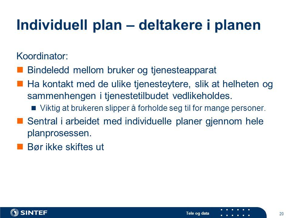 Tele og data 20 Individuell plan – deltakere i planen Koordinator:  Bindeledd mellom bruker og tjenesteapparat  Ha kontakt med de ulike tjenesteyter