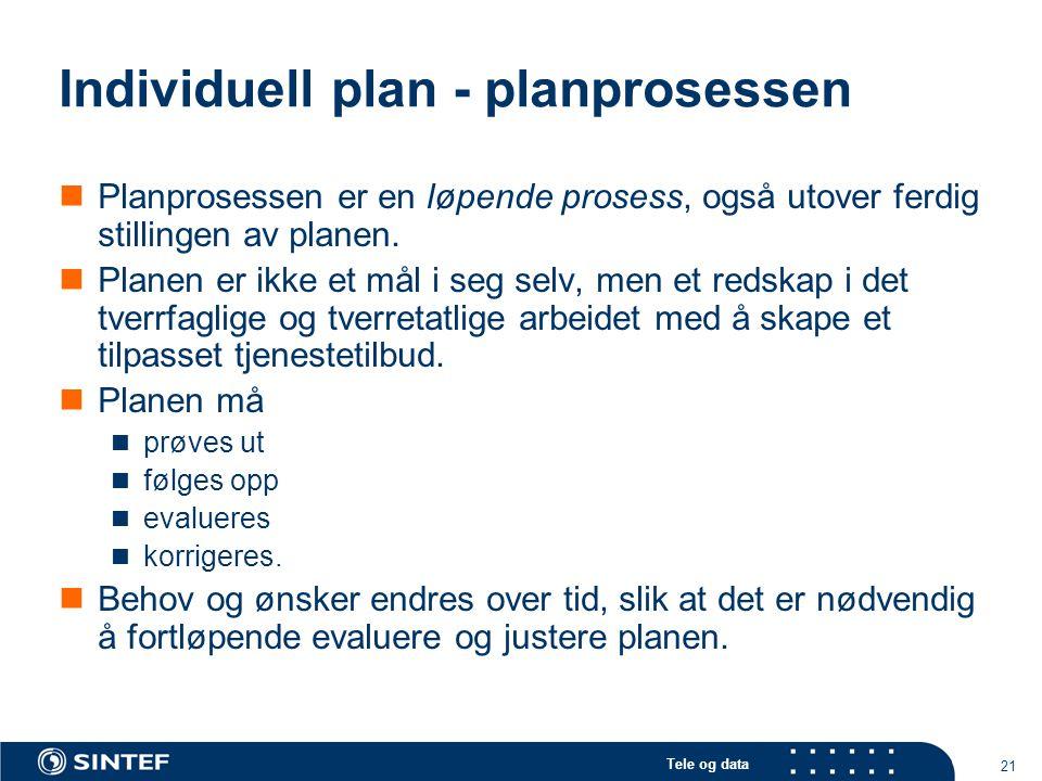 Tele og data 21 Individuell plan - planprosessen  Planprosessen er en løpende prosess, også utover ferdig stillingen av planen.  Planen er ikke et m