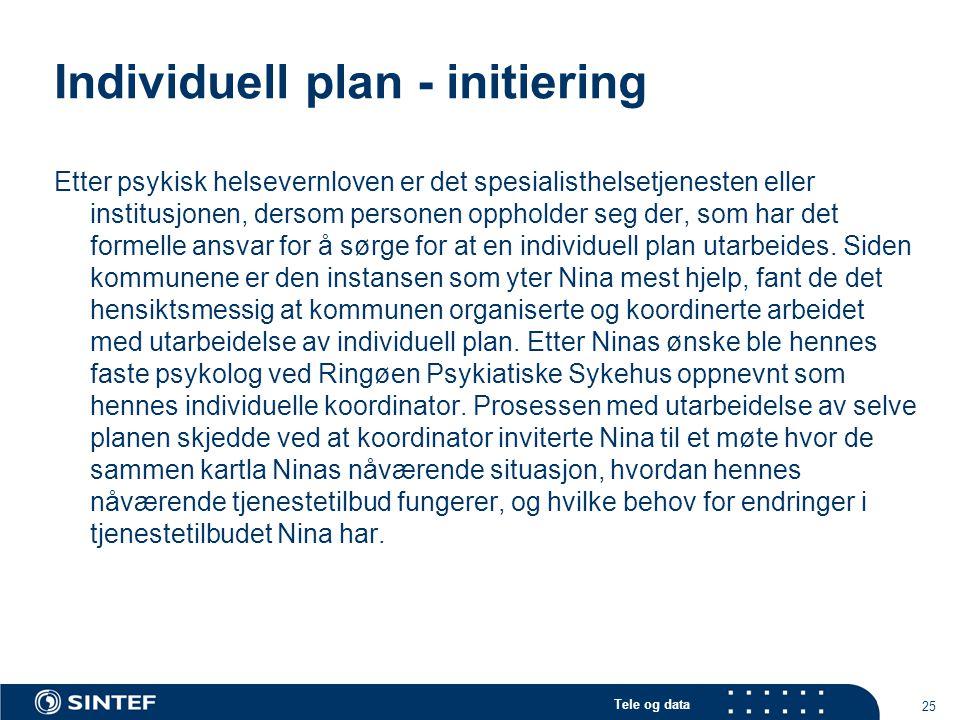 Tele og data 25 Individuell plan - initiering Etter psykisk helsevernloven er det spesialisthelsetjenesten eller institusjonen, dersom personen opphol