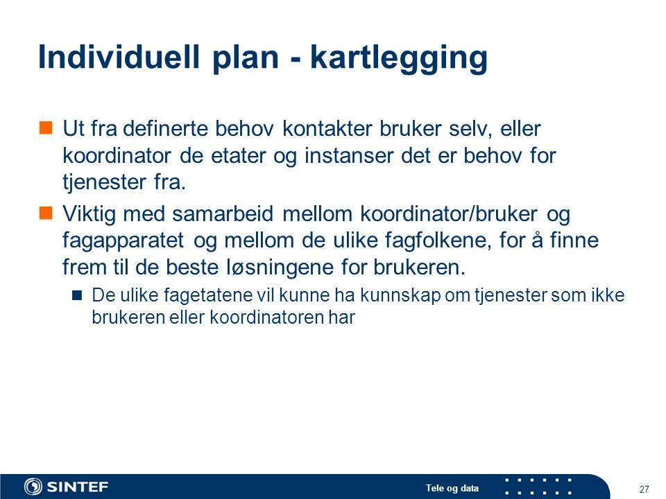 Tele og data 27 Individuell plan - kartlegging  Ut fra definerte behov kontakter bruker selv, eller koordinator de etater og instanser det er behov f
