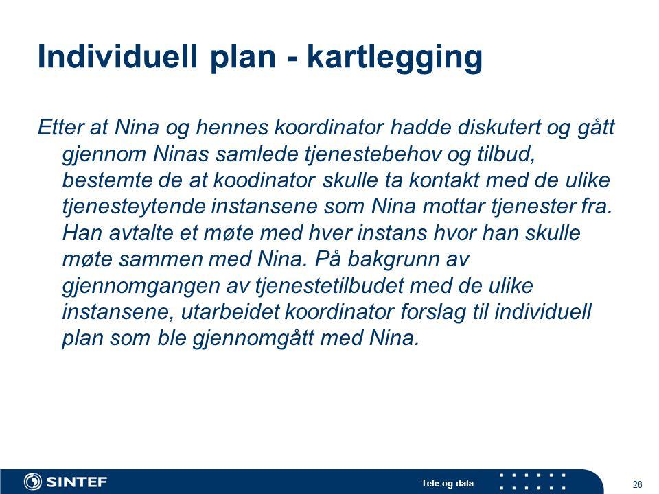 Tele og data 28 Individuell plan - kartlegging Etter at Nina og hennes koordinator hadde diskutert og gått gjennom Ninas samlede tjenestebehov og tilb