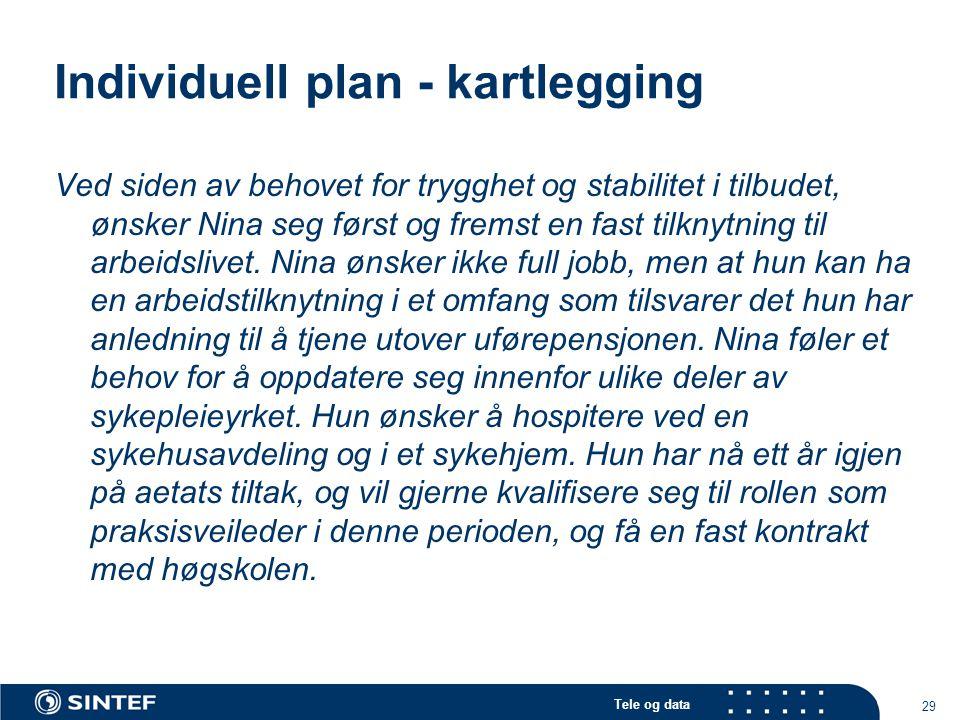 Tele og data 29 Individuell plan - kartlegging Ved siden av behovet for trygghet og stabilitet i tilbudet, ønsker Nina seg først og fremst en fast til