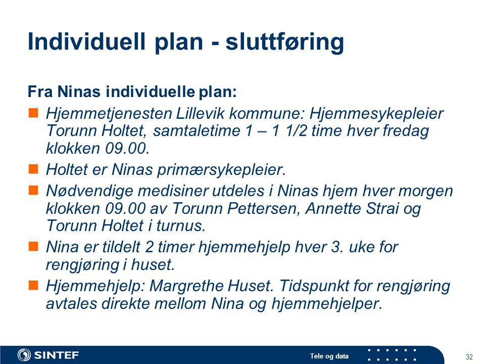 Tele og data 32 Individuell plan - sluttføring Fra Ninas individuelle plan:  Hjemmetjenesten Lillevik kommune: Hjemmesykepleier Torunn Holtet, samtal