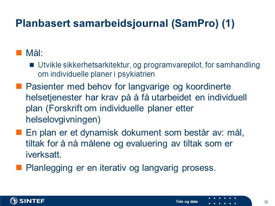 Tele og data 36 Planbasert samarbeidsjournal (SamPro) (1)  Mål:  Utvikle sikkerhetsarkitektur, og programvarepilot, for samhandling om individuelle