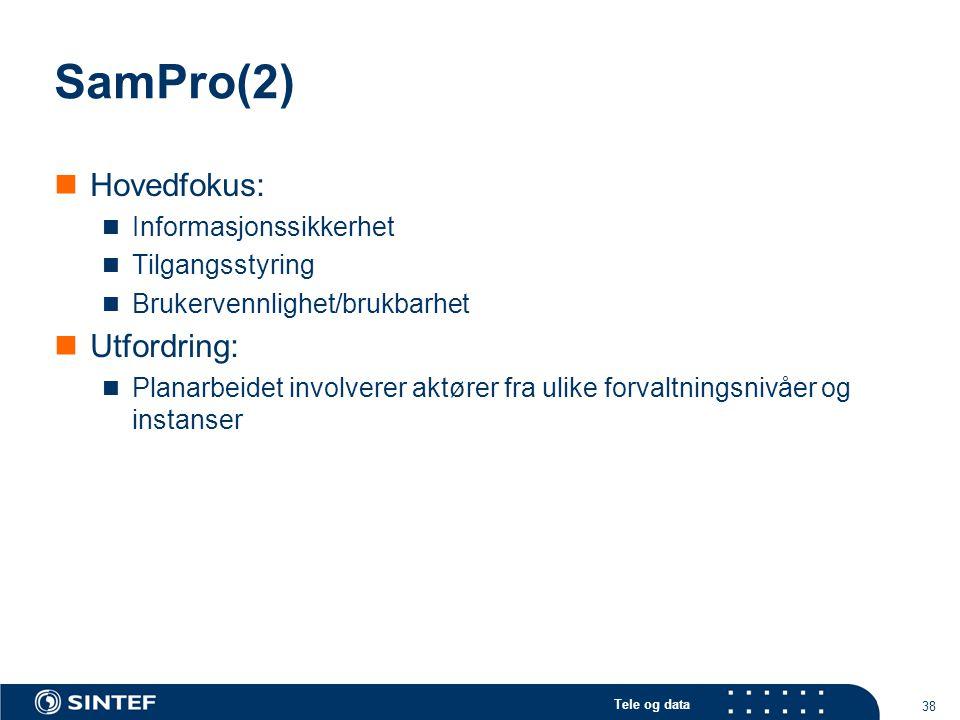 Tele og data 38 SamPro(2)  Hovedfokus:  Informasjonssikkerhet  Tilgangsstyring  Brukervennlighet/brukbarhet  Utfordring:  Planarbeidet involvere