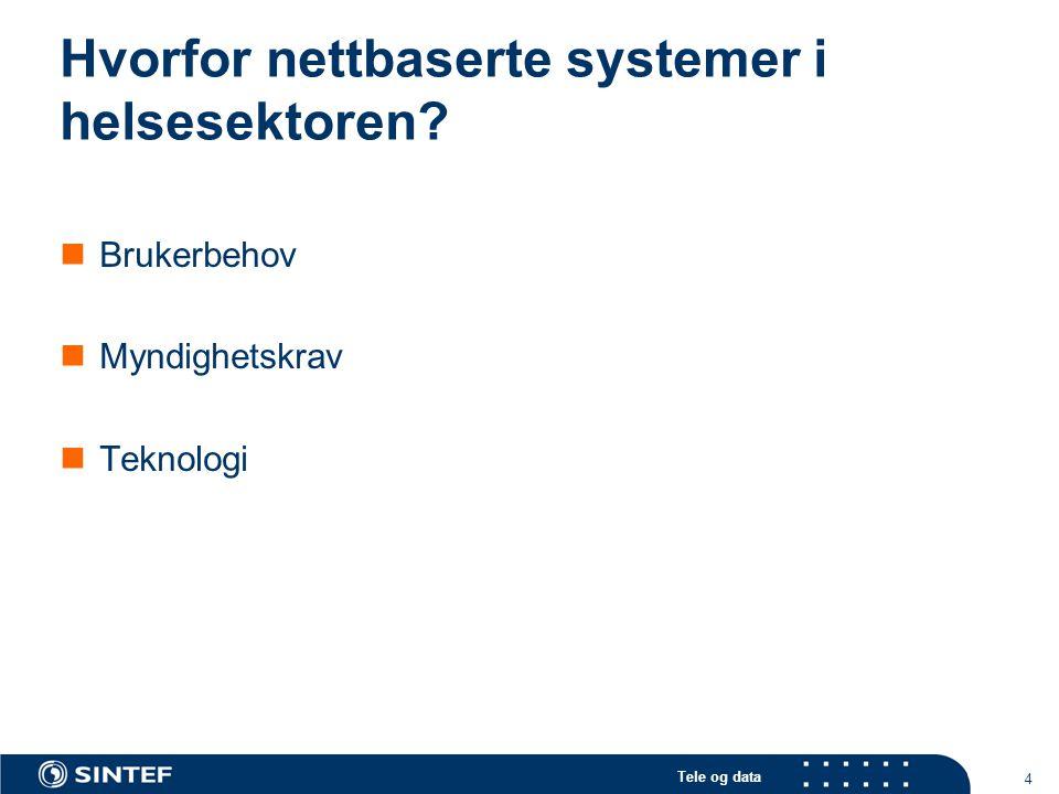 Tele og data 4 Hvorfor nettbaserte systemer i helsesektoren?  Brukerbehov  Myndighetskrav  Teknologi