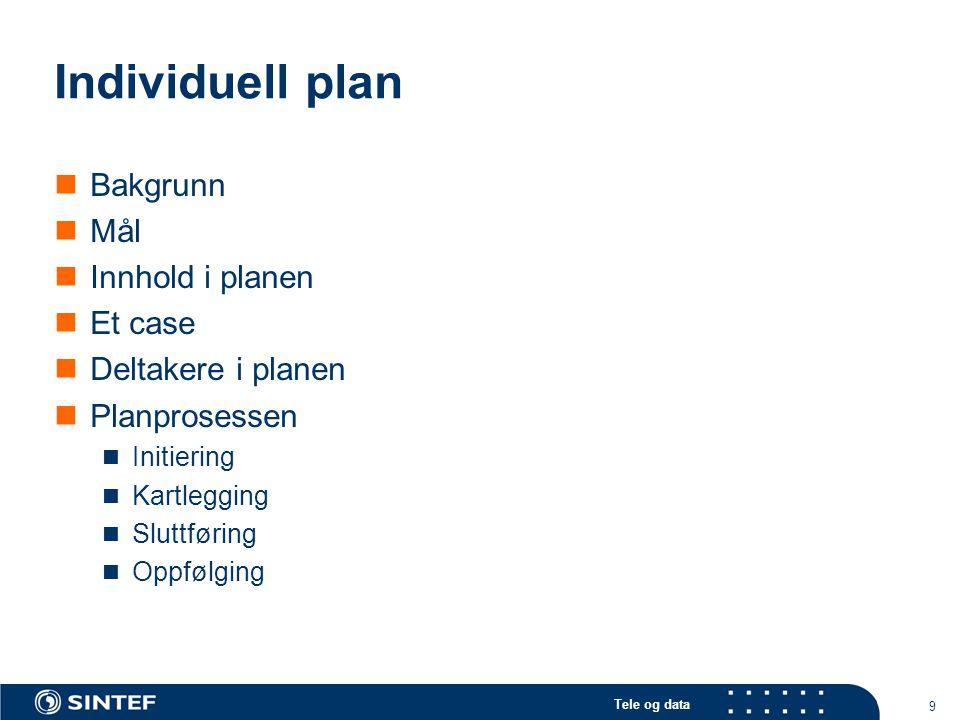 Tele og data 9 Individuell plan  Bakgrunn  Mål  Innhold i planen  Et case  Deltakere i planen  Planprosessen  Initiering  Kartlegging  Sluttf