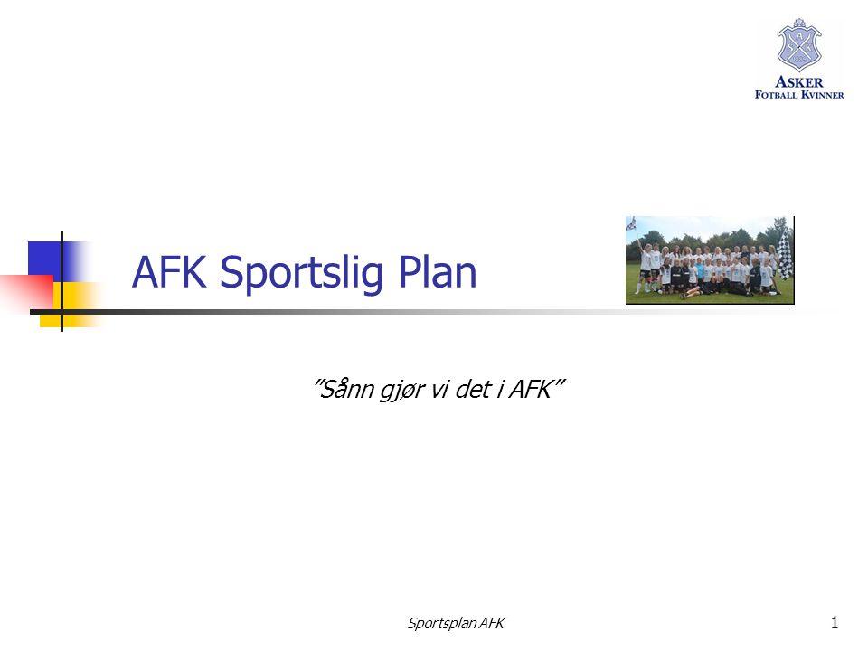 Sportsplan AFK 2 Planens struktur  DEL 1 – FELLES PLAN FOR AFK  Dette er klubbens overordende plan og er besluttet av styret pr 18.11.2009  DEL 2 – PLANER FOR LAGENE  Denne delen er pr.