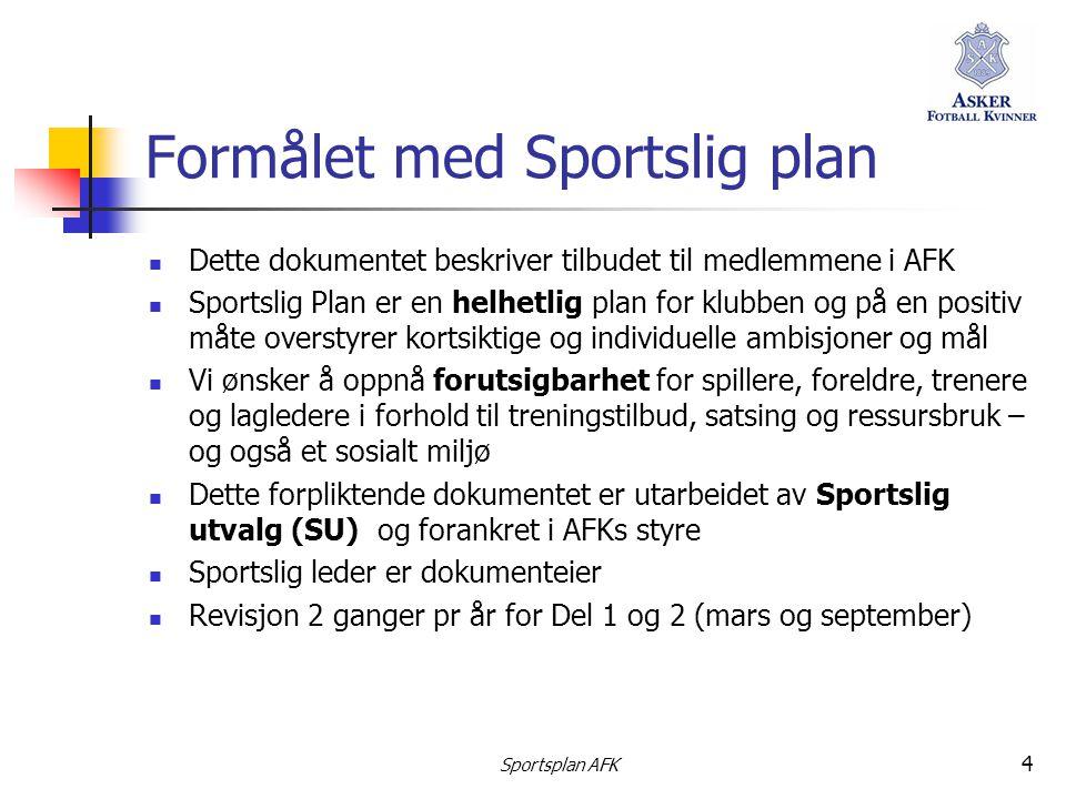 Sportsplan AFK 4 Formålet med Sportslig plan  Dette dokumentet beskriver tilbudet til medlemmene i AFK  Sportslig Plan er en helhetlig plan for klub