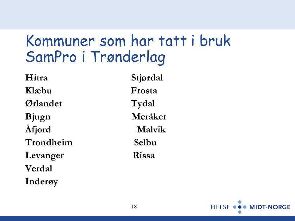 18 Kommuner som har tatt i bruk SamPro i Trønderlag Hitra Stjørdal Klæbu Frosta Ørlandet Tydal Bjugn Meråker Åfjord Malvik Trondheim Selbu Levanger Ri