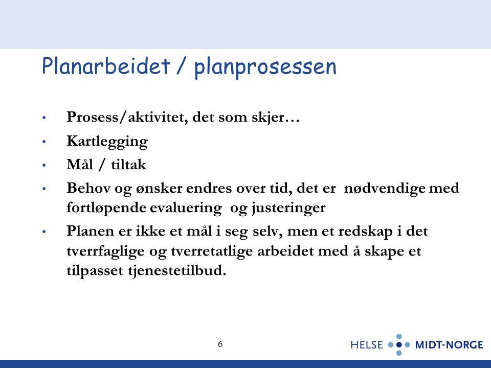 6 6 Planarbeidet / planprosessen • Prosess/aktivitet, det som skjer… • Kartlegging • Mål / tiltak • Behov og ønsker endres over tid, det er nødvendige