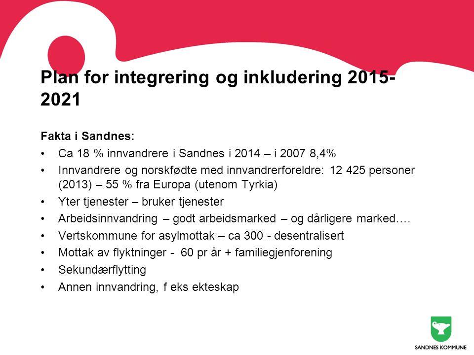 Plan for integrering og inkludering 2015- 2021 Fakta i Sandnes: •Ca 18 % innvandrere i Sandnes i 2014 – i 2007 8,4% •Innvandrere og norskfødte med inn