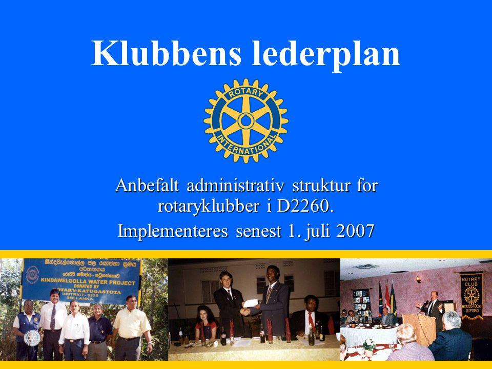 1 Klubbens lederplan Anbefalt administrativ struktur for rotaryklubber i D2260.